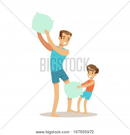 Dad Pillow Fighting With Son, Loving Father Enjoying Good Quality Daddy Time With Happy Kid. Child And Parent Having Fun Together Vector Cartoon Illustration.