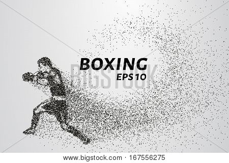 Boxer of the particles. The boxer is made of little circles. The boxer in the pose of attack. Vector illustration