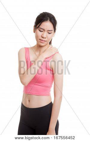 Asian Healthy Girl Got Shoulder Pain.