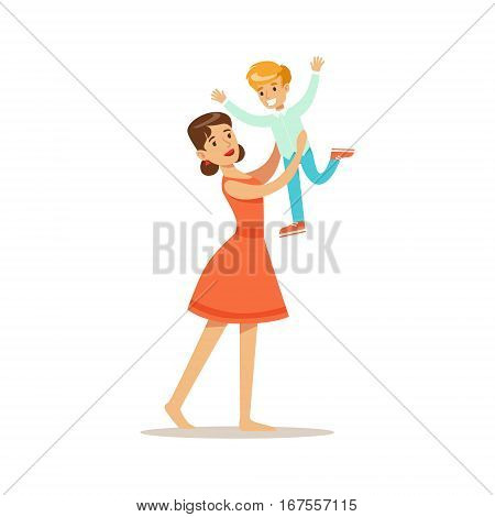 Mom Throwing Her Son In The Air, Loving Mother Enjoying Good Quality Mommy Time With Happy Kid. Child And Parent Having Fun Together Vector Cartoon Illustration.