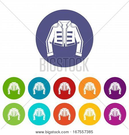 Costume of toreador set icons in different colors isolated on white background