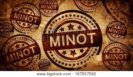 minot, vintage stamp on paper background