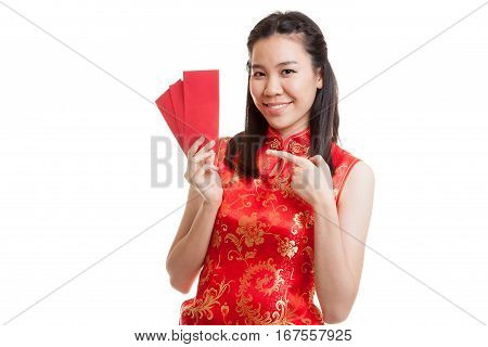 Asian Girl In Chinese Cheongsam Dress Point To Red Envelope.