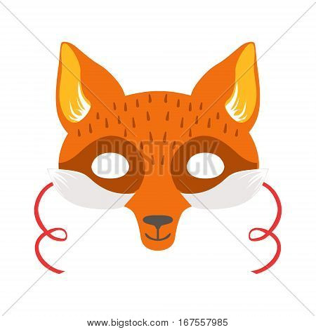 Red Fox Animal Head Mask, Kids Carnival Disguise Costume Element. Children Masquerade Party Paper Mask Colorful Cartoon Vector Illustration.