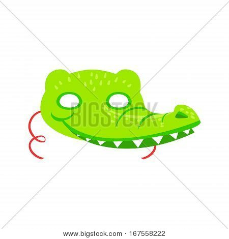 Crocodile Animal Head Mask, Kids Carnival Disguise Costume Element. Children Masquerade Party Paper Mask Colorful Cartoon Vector Illustration.
