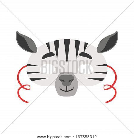 Zebra Animal Head Mask, Kids Carnival Disguise Costume Element. Children Masquerade Party Paper Mask Colorful Cartoon Vector Illustration.