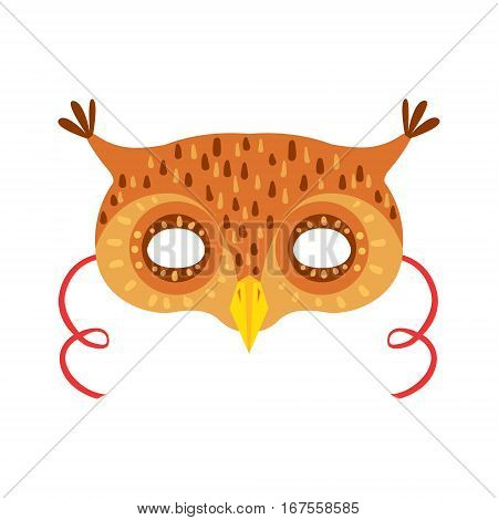 Owl Animal Head Mask, Kids Carnival Disguise Costume Element. Children Masquerade Party Paper Mask Colorful Cartoon Vector Illustration.