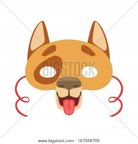 Dog Animal Head Mask, Kids Carnival Disguise Costume Element. Children Masquerade Party Paper Mask Colorful Cartoon Vector Illustration.