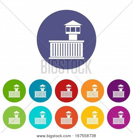 Prison tower set icons in different colors isolated on white background