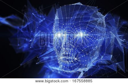 Neuron network concept. Abstract head consisting of lines and points. 3D illustration