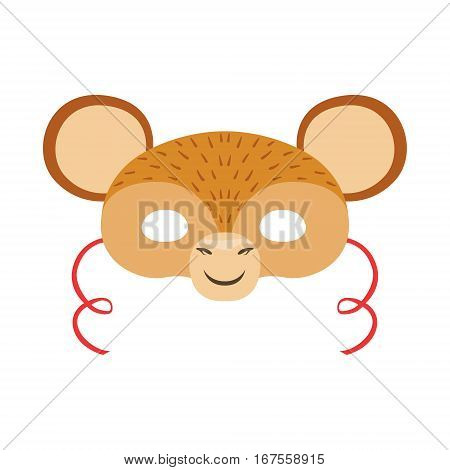 Monkey Animal Head Mask, Kids Carnival Disguise Costume Element. Children Masquerade Party Paper Mask Colorful Cartoon Vector Illustration.