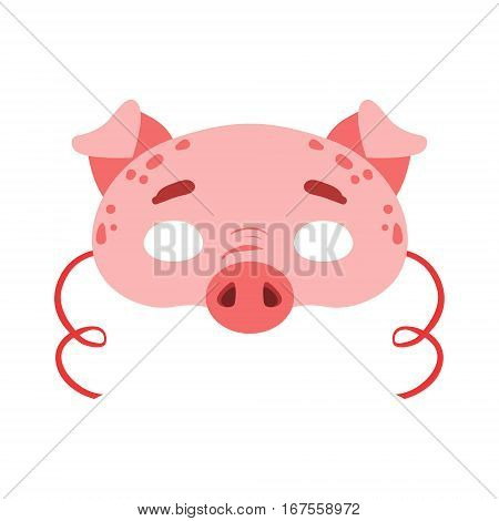Pig Animal Head Mask, Kids Carnival Disguise Costume Element. Children Masquerade Party Paper Mask Colorful Cartoon Vector Illustration.