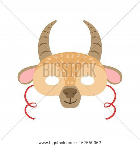 Antelope Animal Head Mask, Kids Carnival Disguise Costume Element. Children Masquerade Party Paper Mask Colorful Cartoon Vector Illustration.