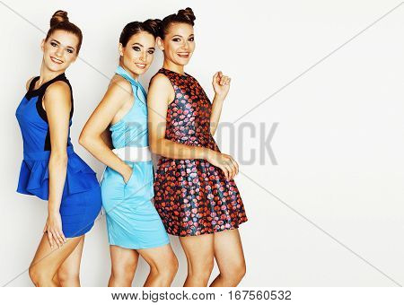 many girlfriends hugging celebration on white background, smiling talking chat, girl next door close up wondering sweety group, lifestyle real people