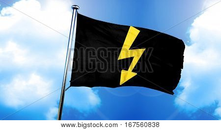 High voltage sign flag, 3D rendering