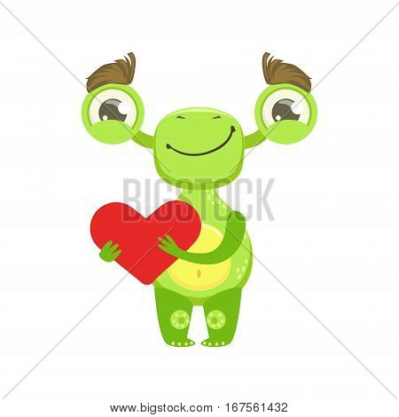 Funny Monster Smiling Holding Red Heart, Green Alien Emoji Cartoon Character Sticker. Cute Fantastic Creature Emoticon Flat Vector Illustration