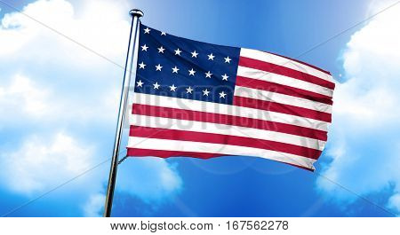 Old glory american early design flag, 3D rendering