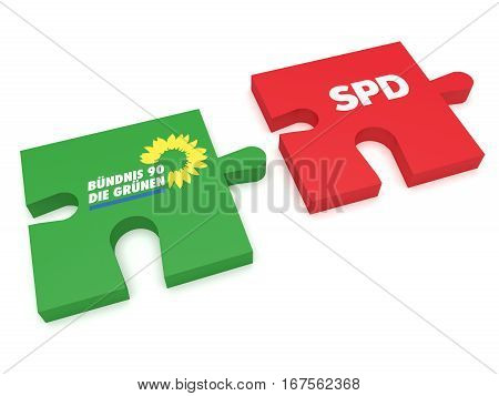 BERLIN GERMANY - JANUARY 30 2017: German Politics Coalition Formation Concept: Puzzle Pieces The Greens And SPD 3d illustration on white background