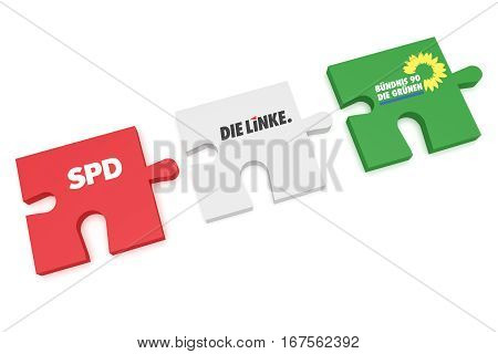 BERLIN GERMANY - JANUARY 30 2017: German Politics Coalition Formation Concept: Puzzle Pieces SPD The Left And The Greens 3d illustration on white background