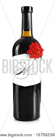 St. Valentines Day concept. Wine bottle with gift bow isolated on white