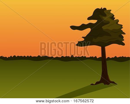 Sunset landscape with one tree. Vector illustration