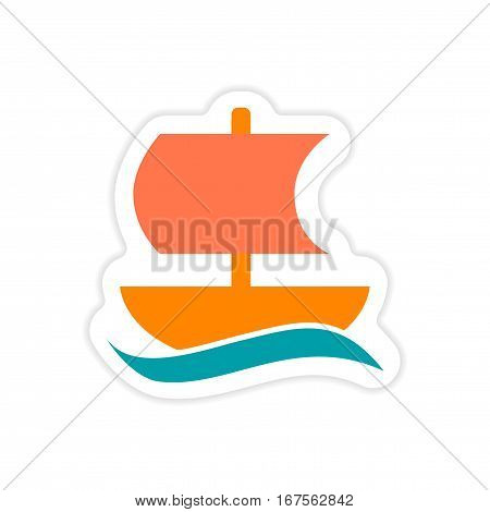 paper sticker on white background Greek ship