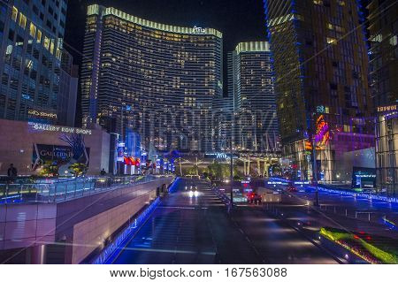 LAS VEGAS - NOV 08 : The Aria Resort and Casino in Las Vegas on N OVEMBER 08 2016. The Aria is a luxury resort and casino opened on 2009 and is the world's largest hotel to receive LEED Gold certification