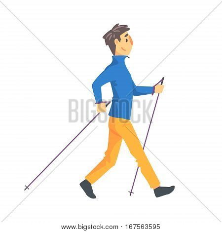 Man In Blue Long Sleeve Ad Yellow Pants Doing Nordic Walk Outdoors Illustration. Finnish Walking Outdoors Sportive Workout Cute Cartoon Vector Drawing.