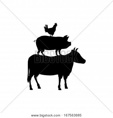 Beef, chicken and pork icon vector illustration graphic design