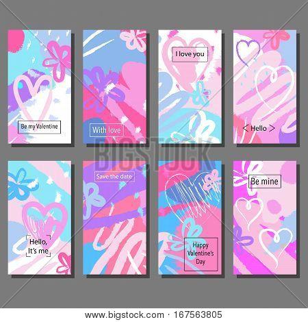Valentine`s Day creative artistic hand drawn cards set. Vector illustration. Wedding, love, romantic template.