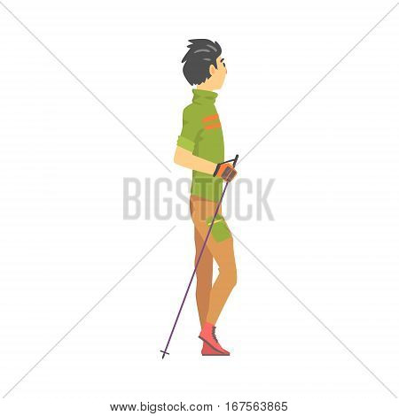 Man In Green T-shirt With Gloves Doing Nordic Walk Outdoors Illustration. Finnish Walking Outdoors Sportive Workout Cute Cartoon Vector Drawing.
