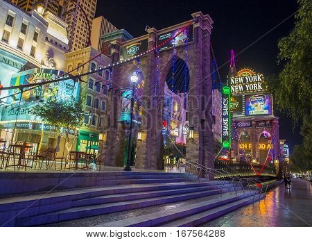 LAS VEGAS - NOV 08 : New York-New York Hotel & Casino in Las Vegas on November 08 2016 This hotel simulates the real New York City skyline and It was opened in 1997.