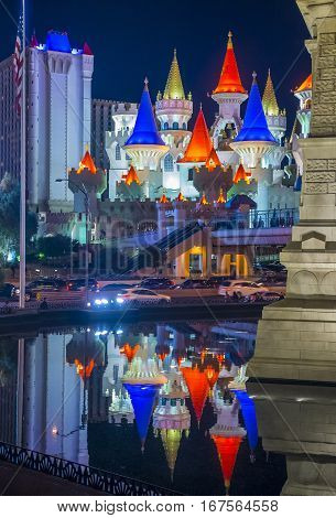 LAS VEGAS - NOV 24 : The Excalibur Hotel and Casino in Las Vegas on November 24 2016 The Hotel was named after King Arthur's sword and opened in 1990