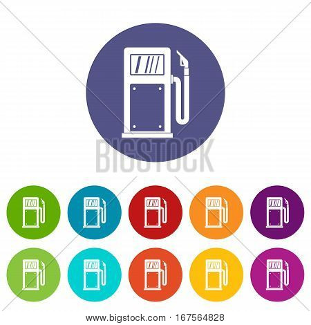Gasoline pump set icons in different colors isolated on white background