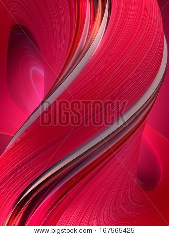 Pinkish red abstract twisted shape. Computer generated geometric illustration. 3D rendering
