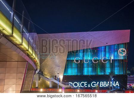 LAS VEGAS - NOV 24 : The Crystals mall in Las Vegas strip on November 24 2016. Crystals offers 500000 sq ft of retail space including gourmet restaurants shops and galleries.