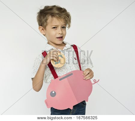 Kid Holding Piggybank Saving Money
