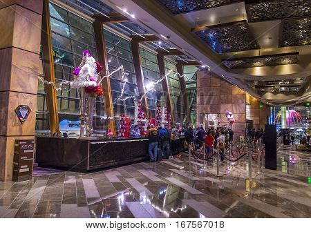 LAS VEGAS - NOV 24 : Aria hotel interior in Las Vegas on November 24 2016. Aria is a luxury resort and casino opened on 2009 and is the world's largest hotel to receive LEED Gold certification