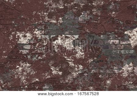 Texture of plastered brick walls, painted brown.