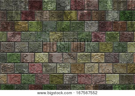The wall of multicolored bricks with artistic texture.