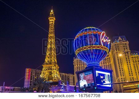 LAS VEGAS - NOV 24 : The Paris Las Vegas hotel and casino on November 24 2016 in Las Vegas Nevada USA. It includes a half scale 541-foot (165 m) tall replica of the Eiffel Tower.