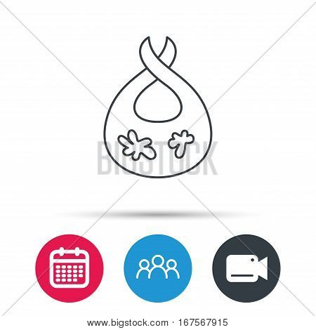 Bib with dirty spots icon. Baby clothes sign. Feeding wear symbol. Group of people, video cam and calendar icons. Vector