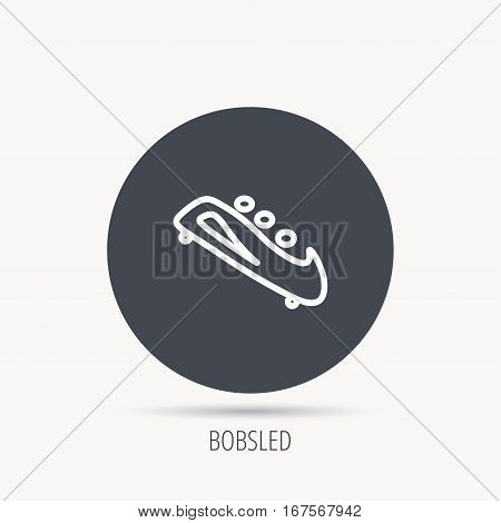 Bobsleigh icon. Three-seater bobsled sign. Professional winter sport symbol. Round web button with flat icon. Vector