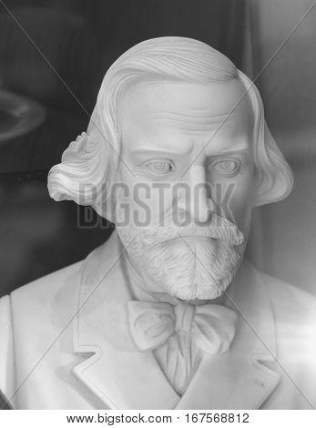Bust Of Giuseppe Verdi In Milan
