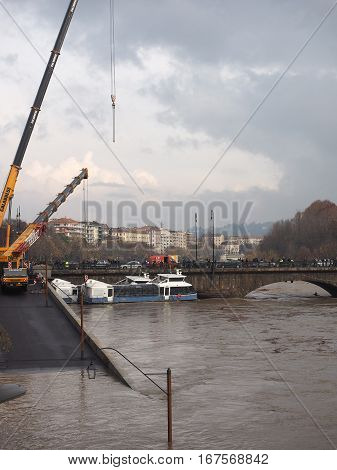 River Po Flood In Turin