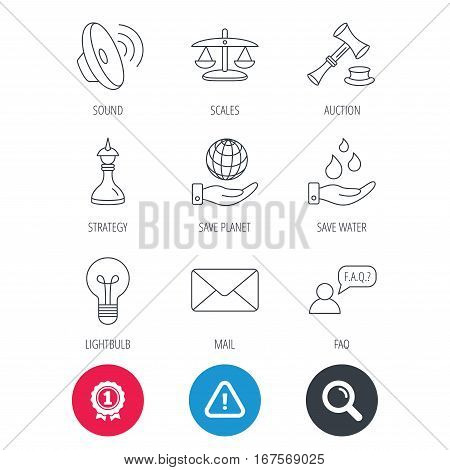 Achievement and search magnifier signs. Strategy, auction and scales of justice icons. Save planet, water and lamp lightbulb linear signs. Faq and law hammer flat line icons. Hazard attention icon