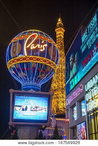 LAS VEGAS - NOV 24 : The Paris Las Vegas hotel and casino on November 24 2016 in Las Vegas Nevada USA. It includes a half scale 541-foot (165 m) tall replica of the Eiffel Tower.