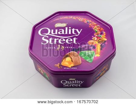 CHESTER UK - JANUARY 28TH 2017: A close-up of the Nestle Quality Street tub with lid on