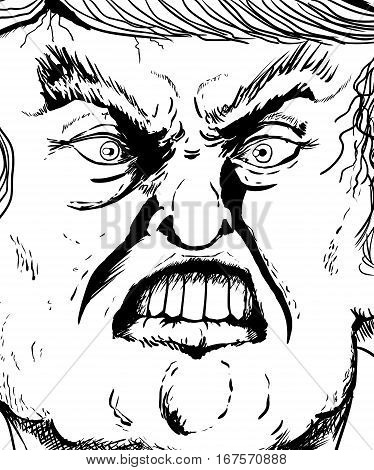 Extreme Close Up Outline On Donald Trump Biting Lip