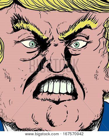 Extreme Close Up On Donald Trump Biting Lip